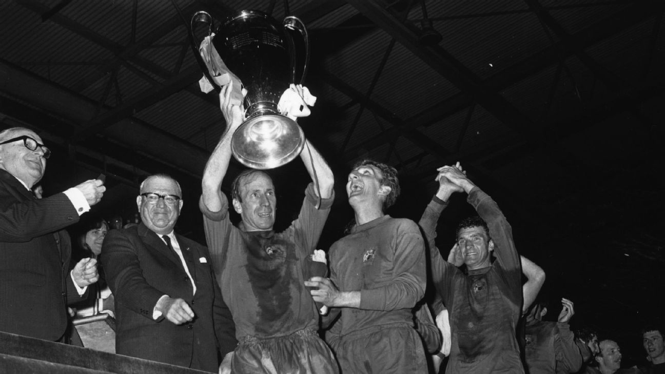 Manchester United lifted the European Cup 10 years on from the Munich tragedy.