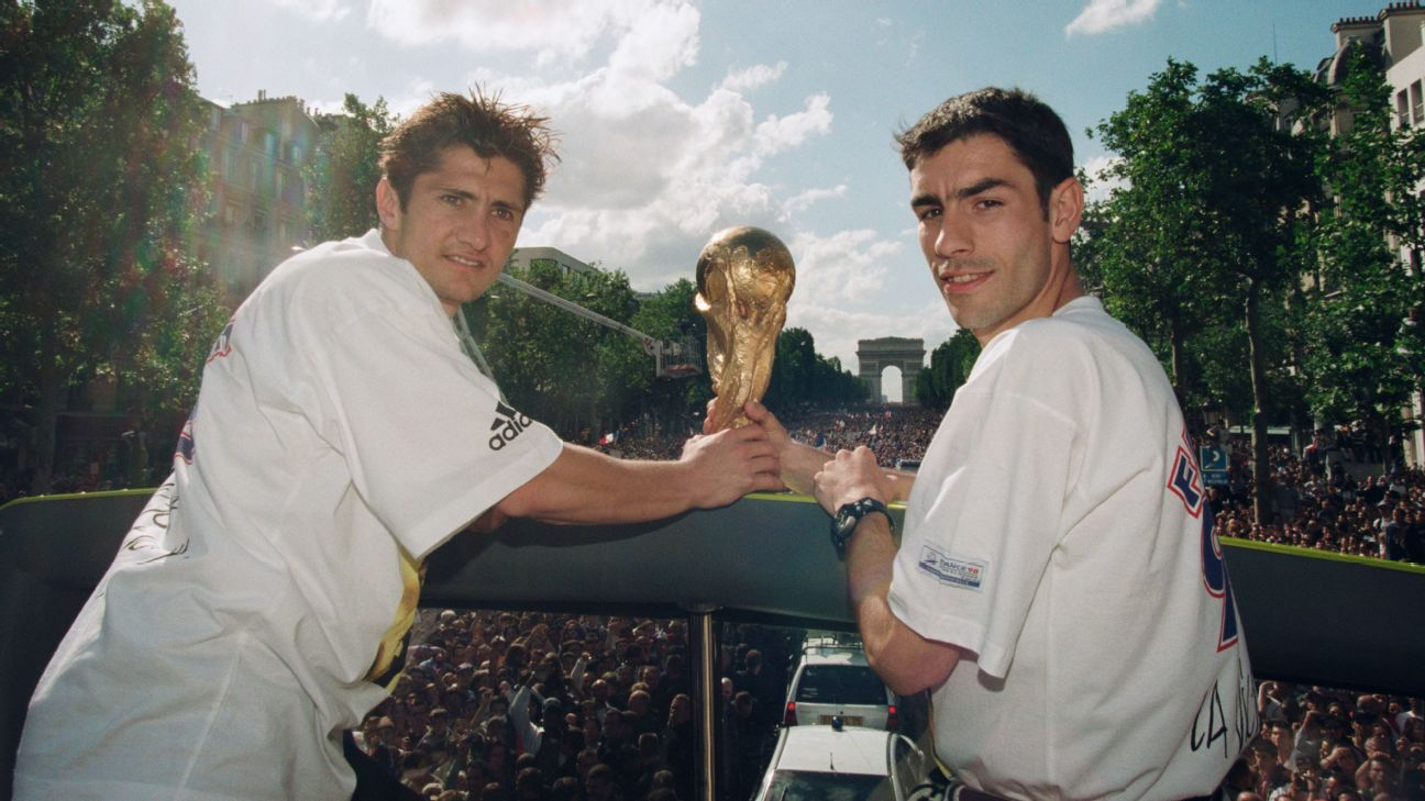 Bixente Lizarazu and Robert Pires celebrate France's 1998 World Cup win.