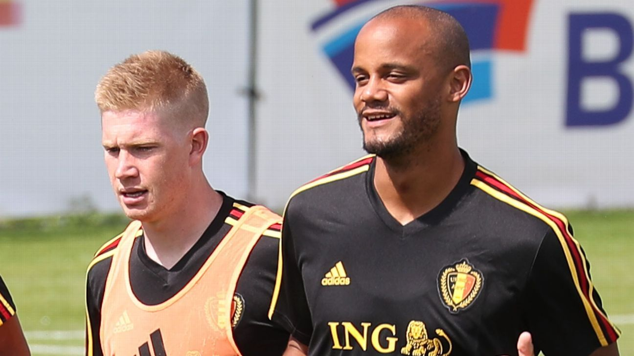 Belgium's Kevin De Bruyne and Vincent Kompany in pre-World Cup training.