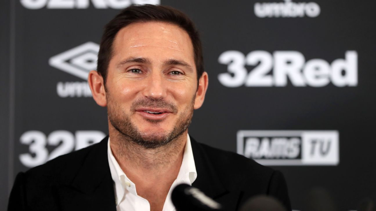 Frank Lampard speaks during his introductory news conference as Derby County manager.