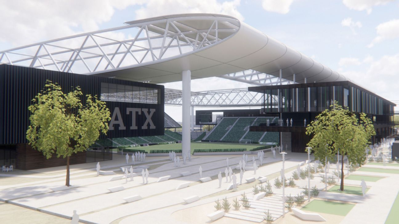 Rendering of potential MLS stadium at McKalla Place in Austin, Texas.