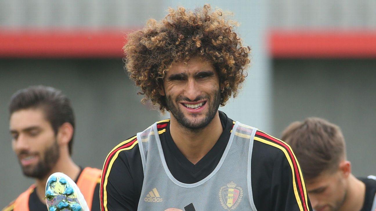 Marouane Fellaini training with Belgium ahead of the World Cup.