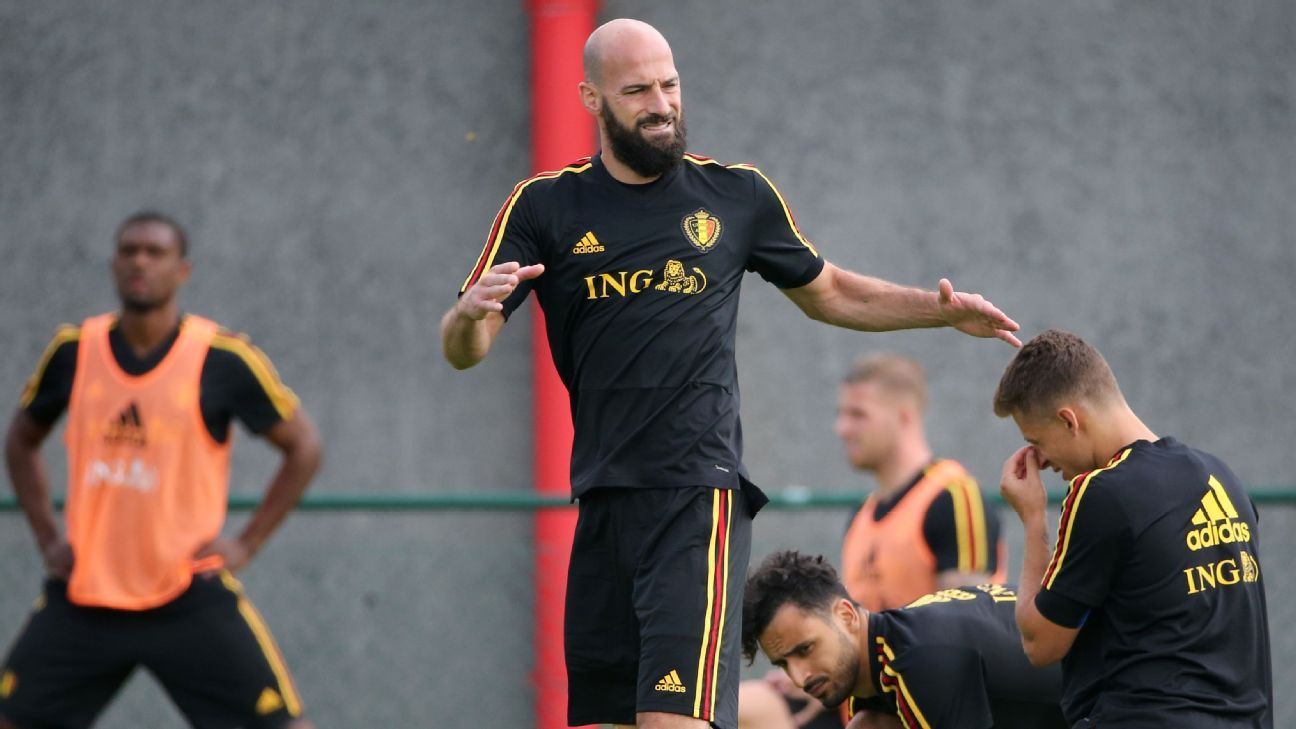 Laurent Ciman trains with Belgium ahead of the World Cup.