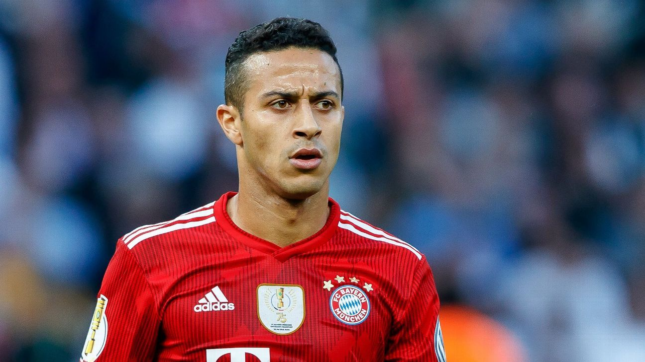 Thiago Alcantara looks on during the DFB-Cup final between Bayern Munich and Eintracht Frankfurt.
