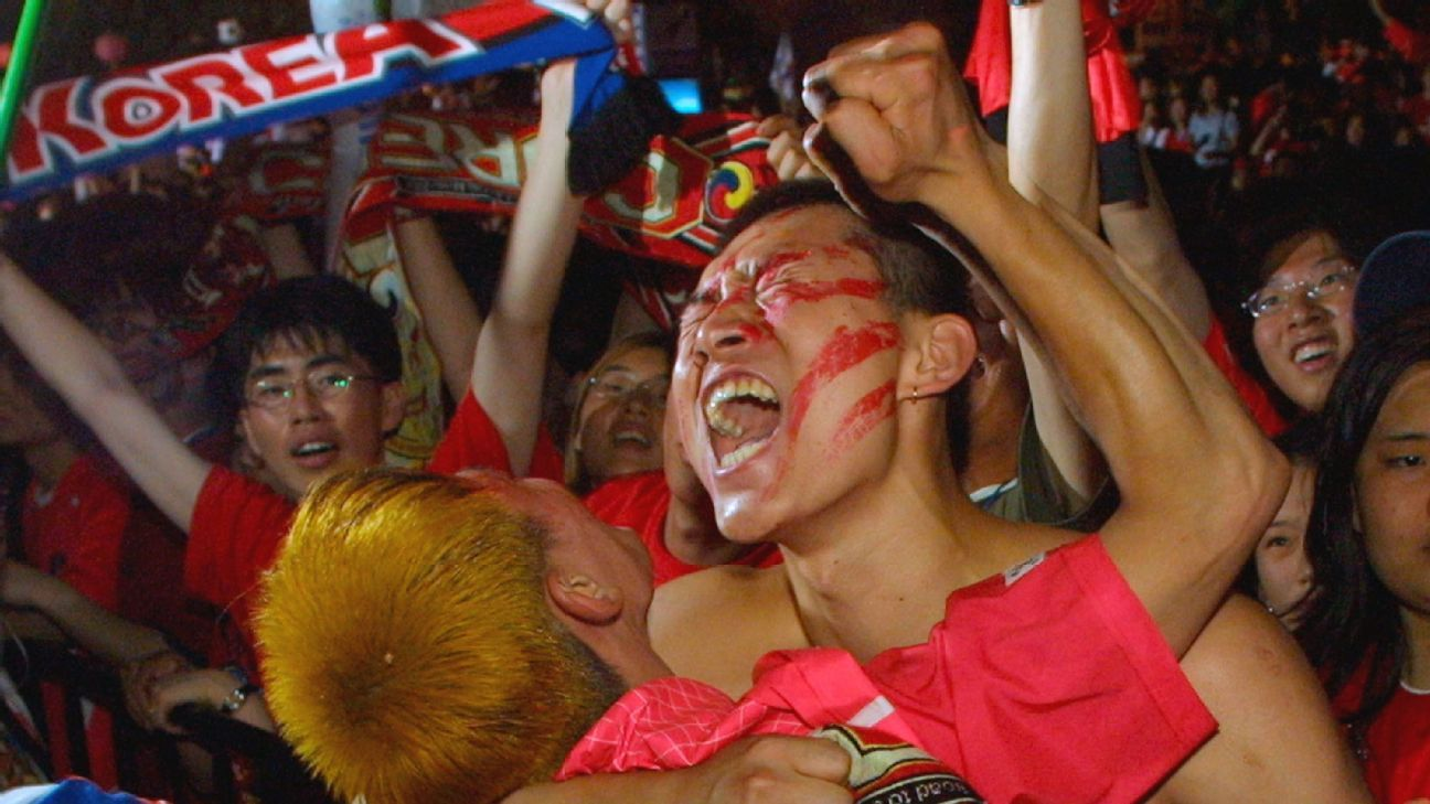 Red jerseys, red face-paint, red bandanas: South Korea's streets and stadiums turned red during the 2002 World Cup.