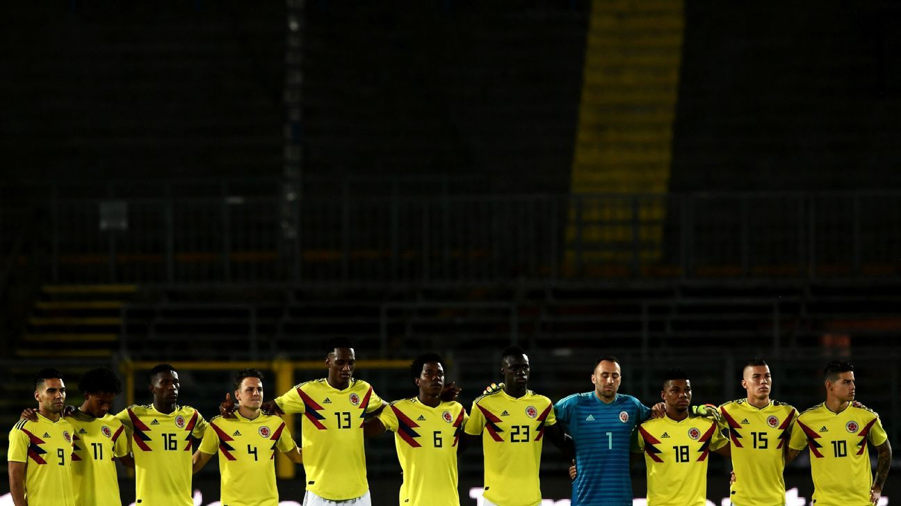 Colombia players held a minute's silence for Alejandro Penaranda before their friendly against Egypt.