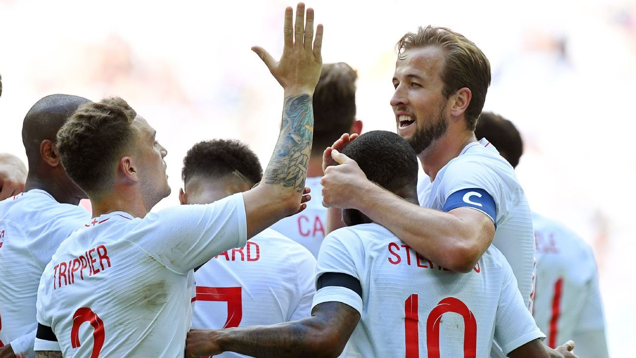 Harry Kane (R) celebrates with his teammates after scoring.