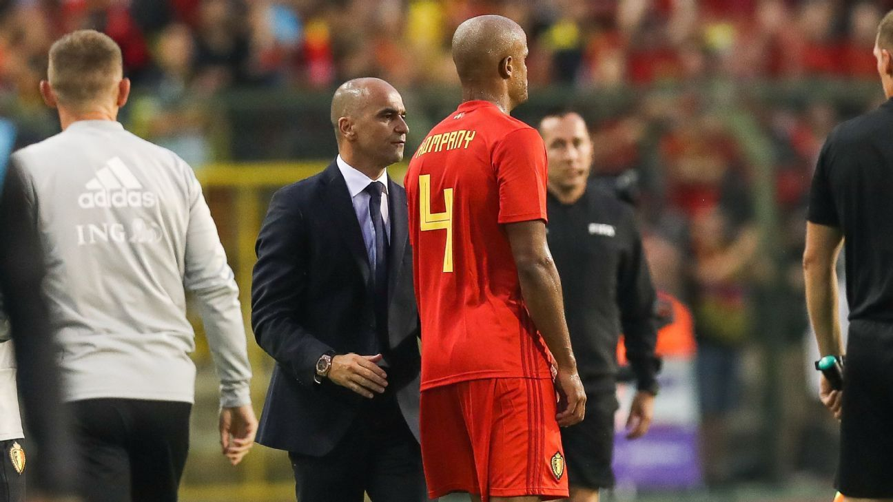 Vincent Kompany limped out of the friendly with Portugal.
