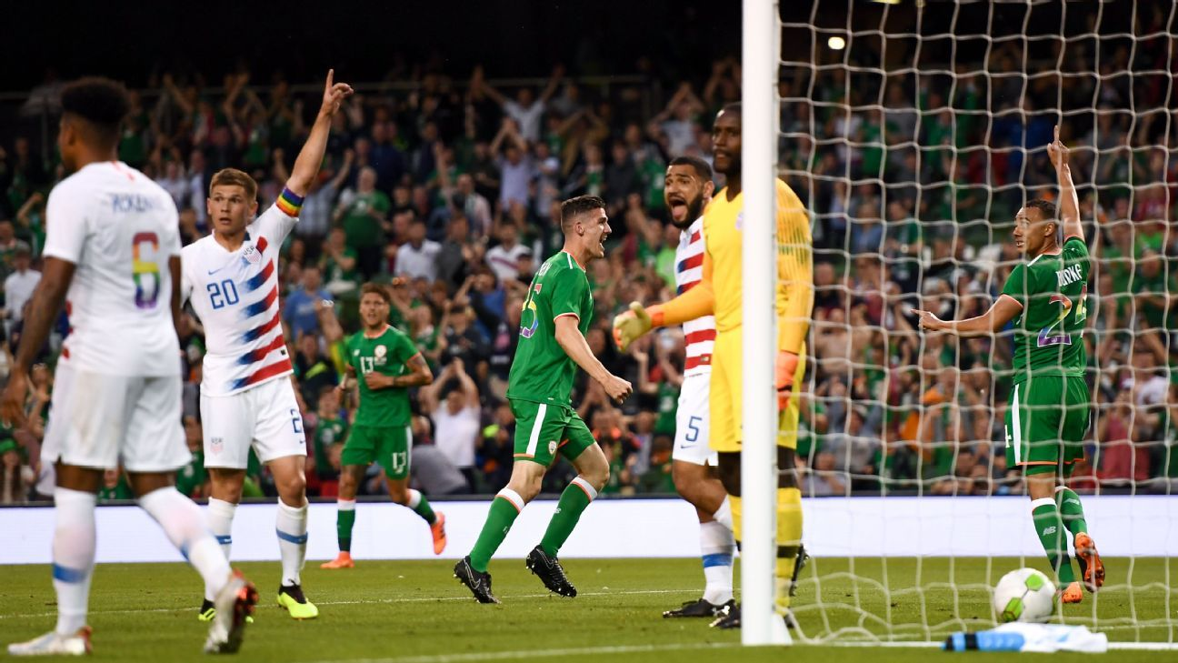 After a decent first half, the U.S.came undone in the second in a 2-1 loss to Ireland.