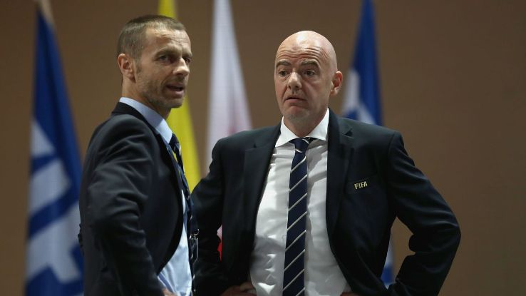 Ceferin and FIFA president Infantino, right, don't exactly see eye to eye on matters of European football.