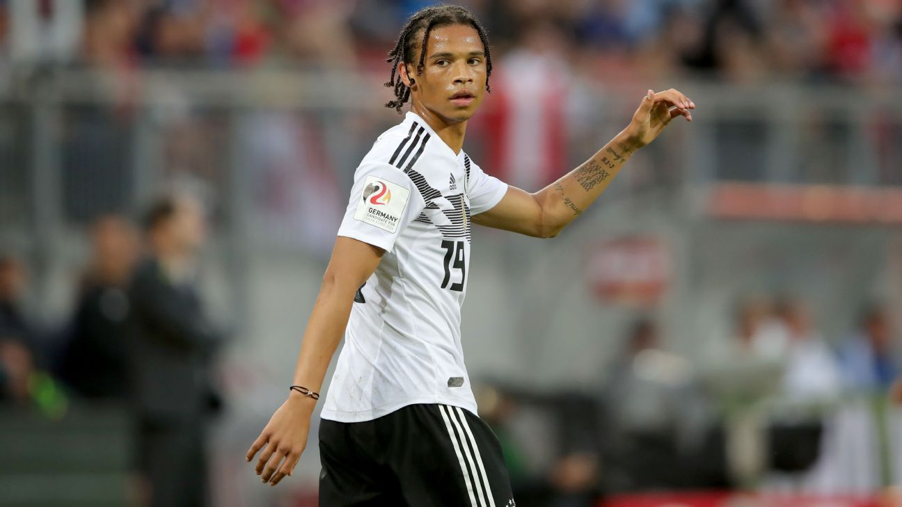 Leroy Sane looks on during the friendly against Austria.