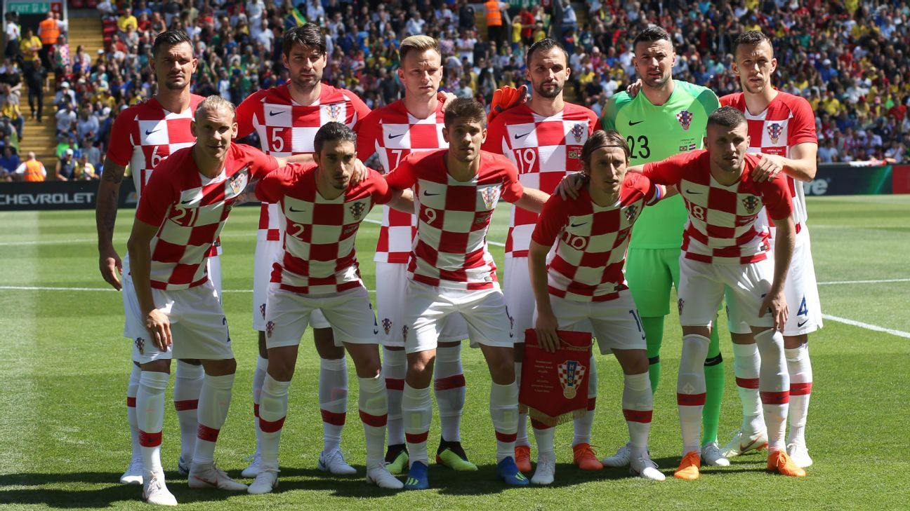 Croatia line up before a friendly vs Brazil.