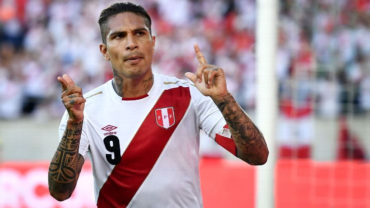 Paolo Guerrero celebrates after scoring for Peru in their friendly win against Saudi Arabia.