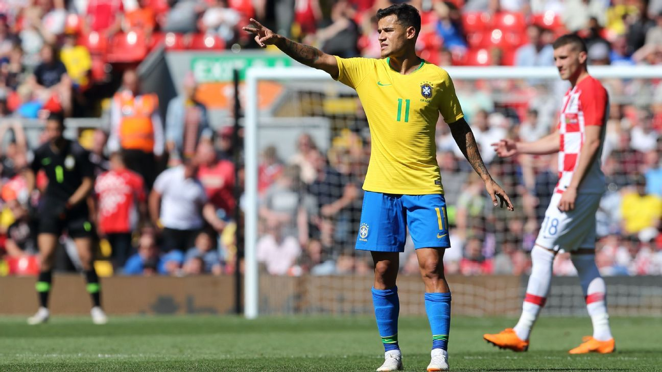 Philippe Coutinho made his return to Anfield with Brazil.