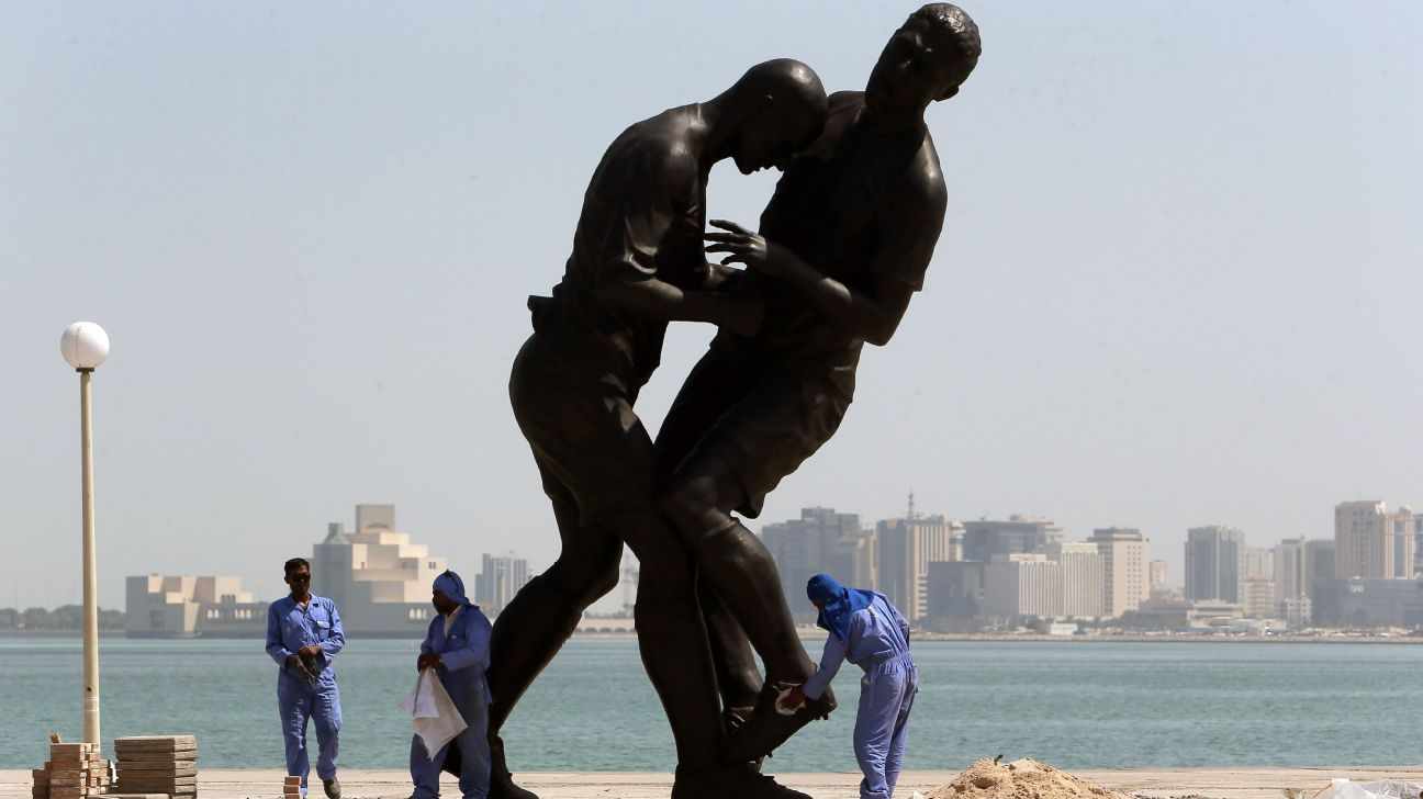 What awaits a player at this World Cup who goes postal and does a Zidane? Perhaps they will be immortalized like this statue in Qatar of Zinedine Zidane headbutting Marco Materazzi.