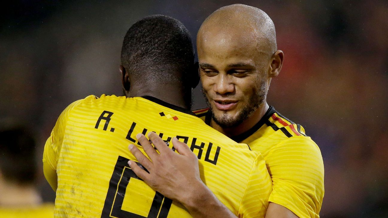 Belgium teammates Romelu Lukaku and Vincent Kompany are crosstown club rivals in Manchester