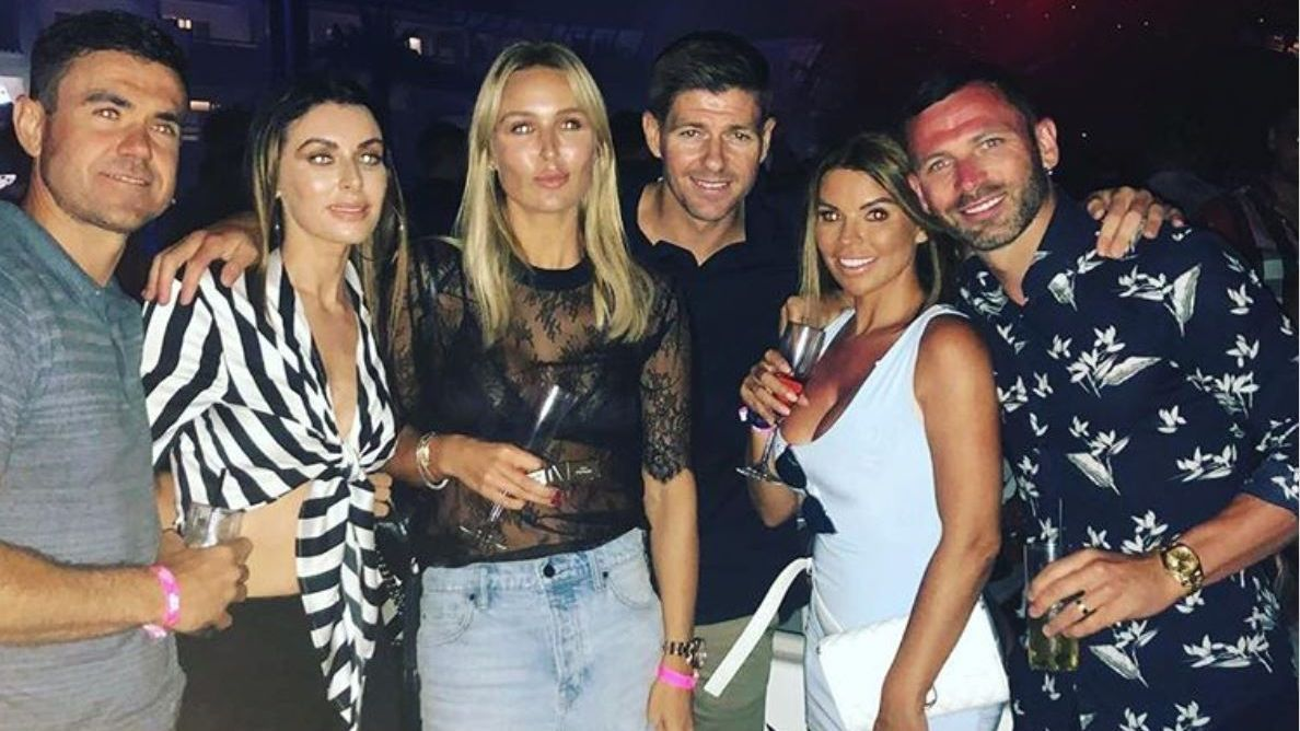 Steven Gerrard watches David Guetta with friends in Ibiza