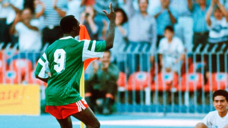 Milla's iconic shuffle after his goals at Italia '90, at the ripe old age of 38, was unforgettable as Cameroon stunned their way to the quarterfinals.