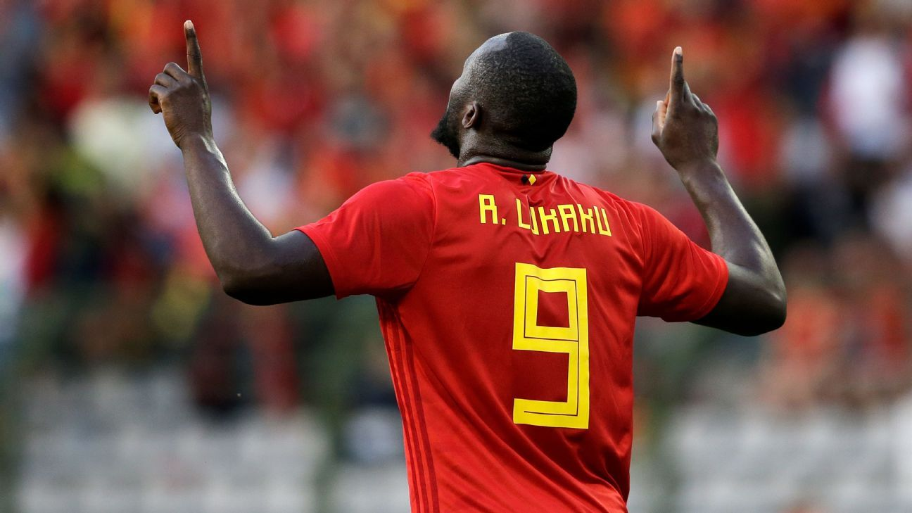 Romelu Lukaku celebrates after scoring a goal for Belgium against Egypt in a World Cup friendly.
