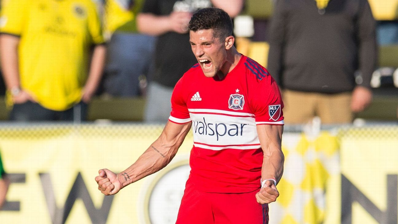 Chicago Fire defender Rafael Ramos celebrates after his team tied the score against the Columbus Crew.