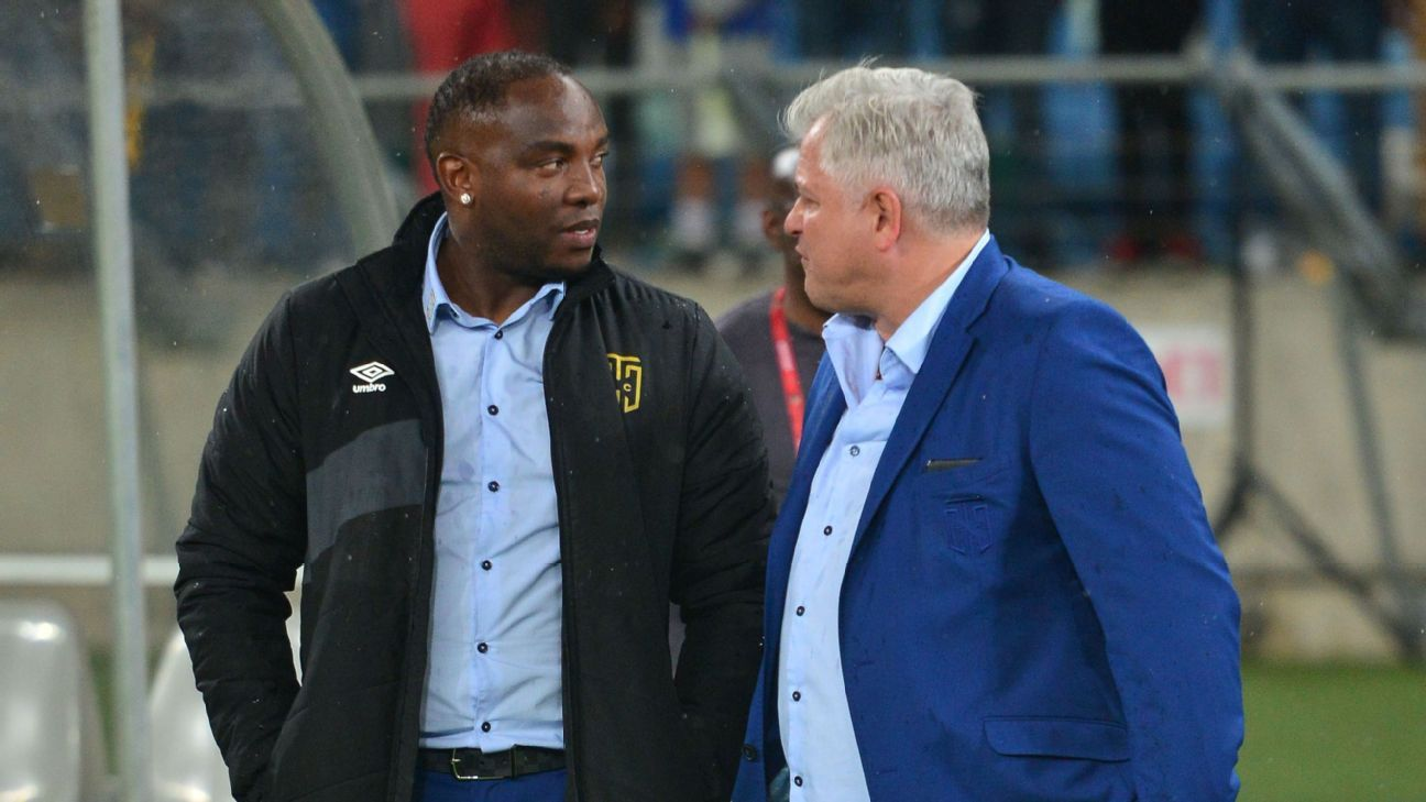 Benni McCarthy, coach of Cape Town City, with club chairman John Comitis