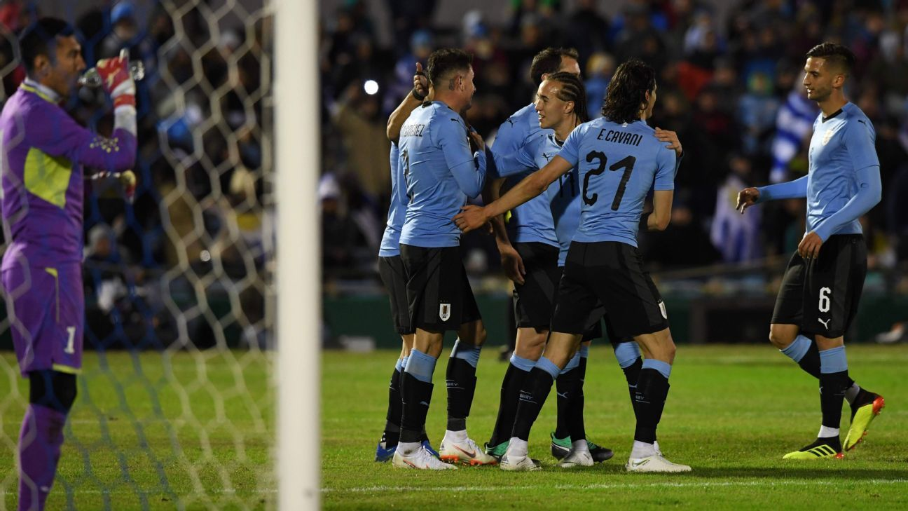 Uruguay players after Jose Maria Gimenez scored a goal against Uzbekistan in a friendly.