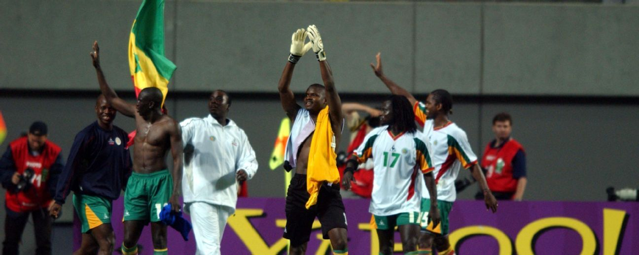 In celebration, Bouba Diop stripped off his jersey and threw it on the ground near the far corner flag, and the players formed a ring and did a little dance around it.