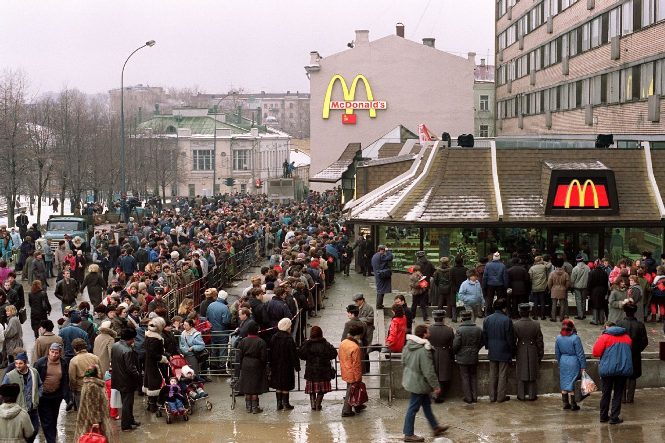 In the 1980s, one came across stories and pictures of Moscow queues -- for food, for white goods, at hospitals. This photo shows customers outside the just-opened first McDonald's in the Soviet Union on January 31, 1990 at Moscow's Pushkin Square.