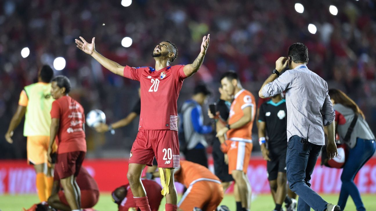 Anibal Godoy looks to the heavens after Panama clinched their first ever World Cup berth in October.