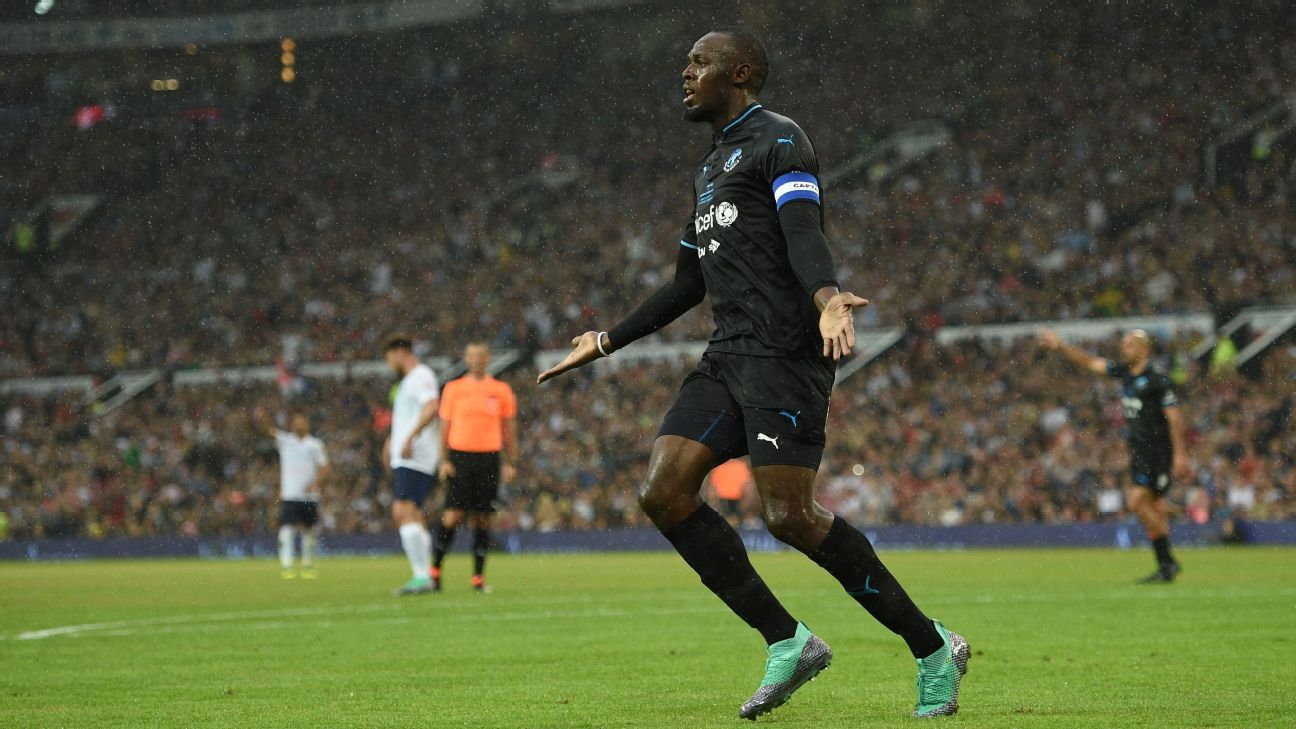 Usain Bolt had a goal ruled out for offside before scoring in a shootout.