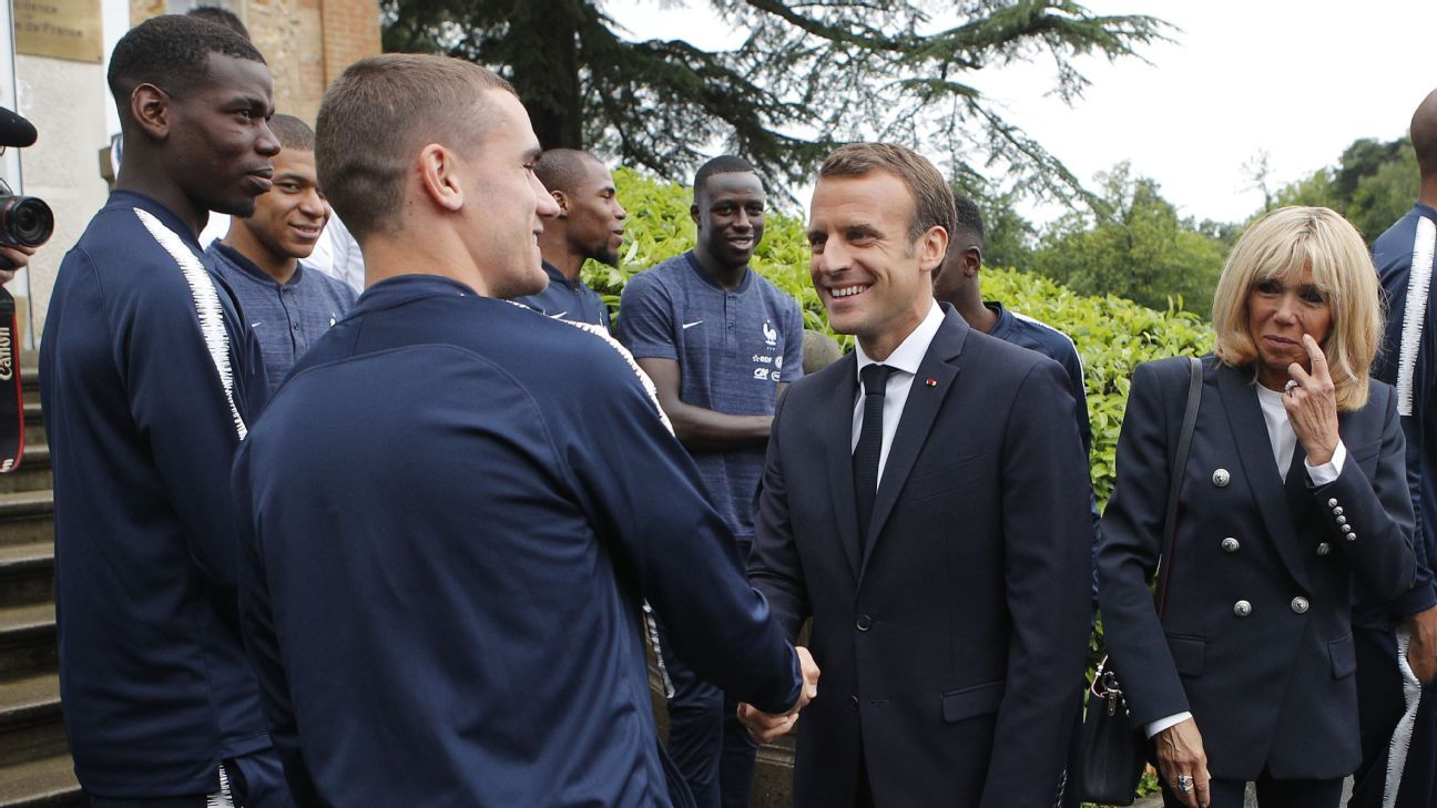 Emmanuel Macron meets France players at Clairefontaine.