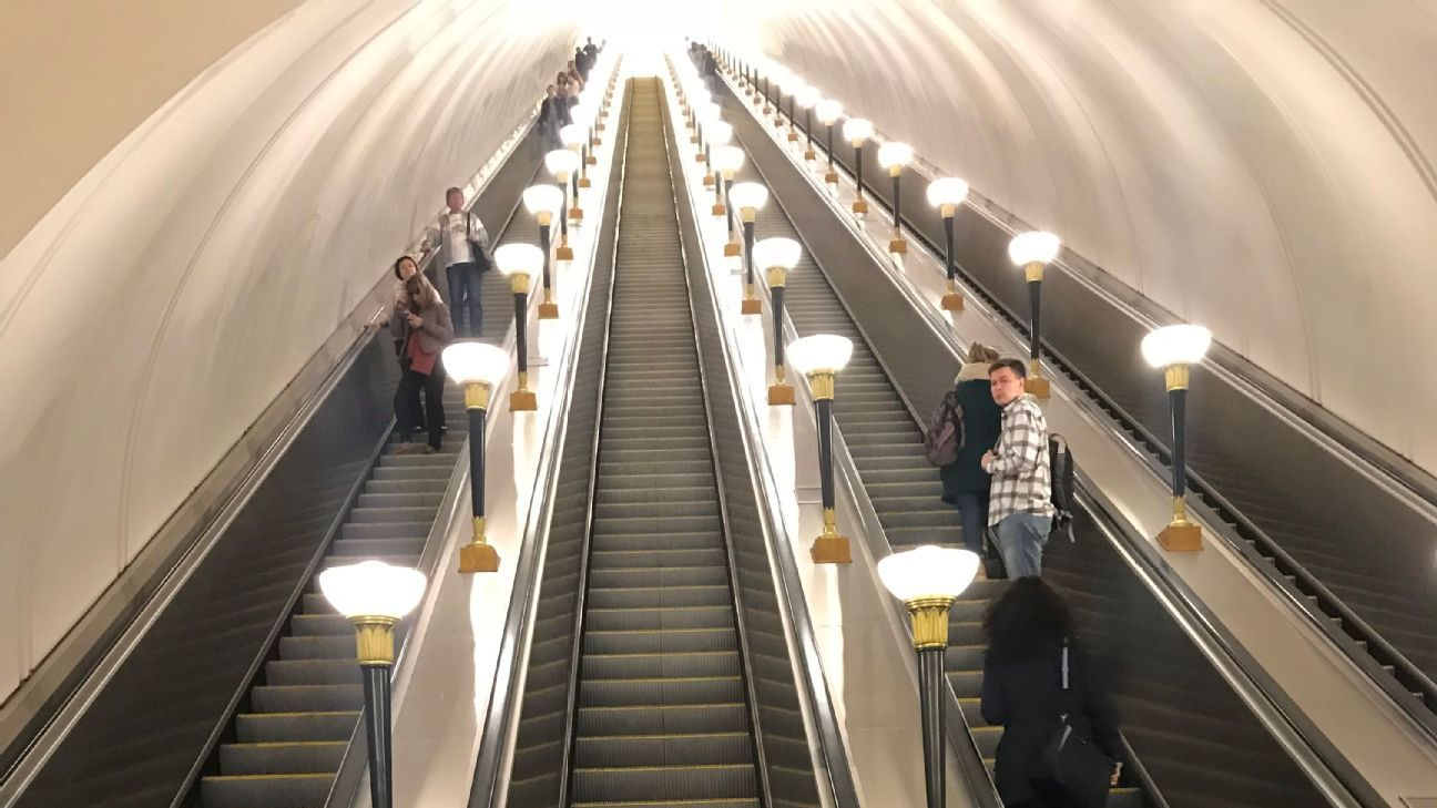 Stairway to heaven: Getting to the third level of the Sportivnaya Station can take a while