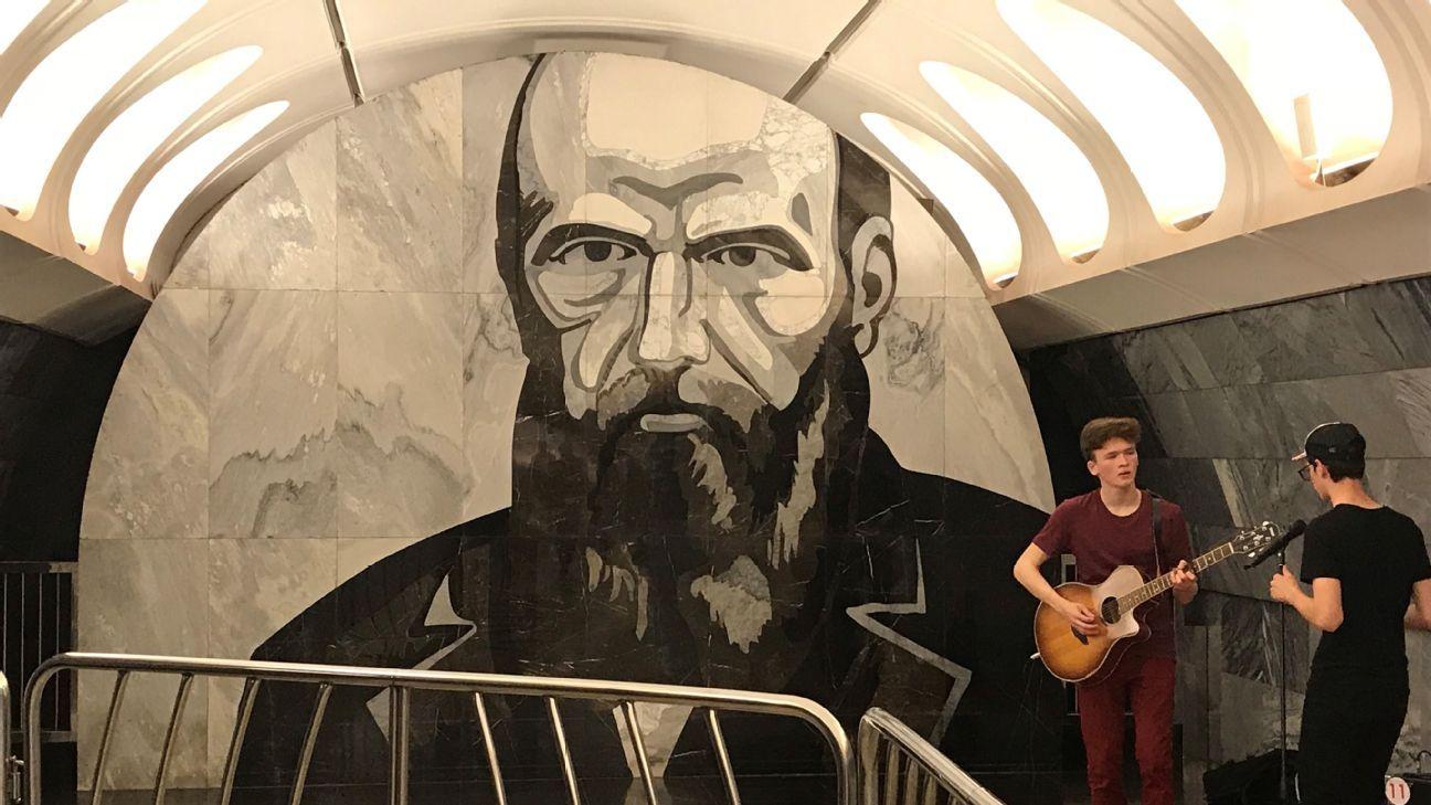 The murals at Dostoyevskaya station depict scenes from Fyodor Dostoyevsky's life.