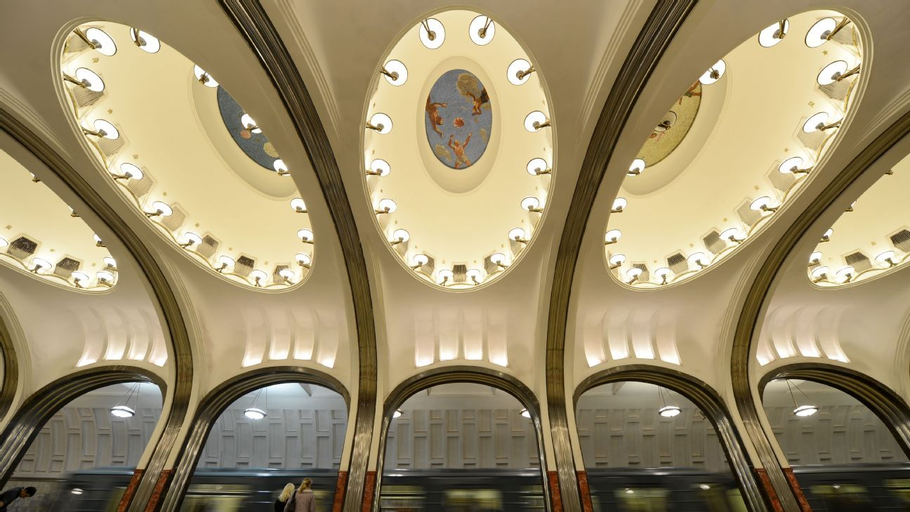 The mosaics on the ceiling of the Mayakovskaya Metro station.