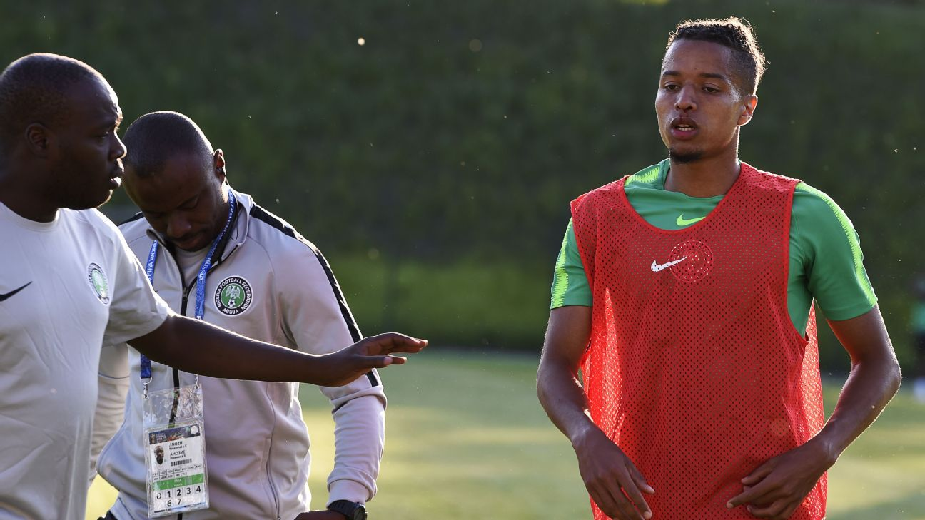 Nigeria defender Tyronne Ebuehi was involved in a small collision during a hard Super Eagles training session and ended it with a cut on his nose.