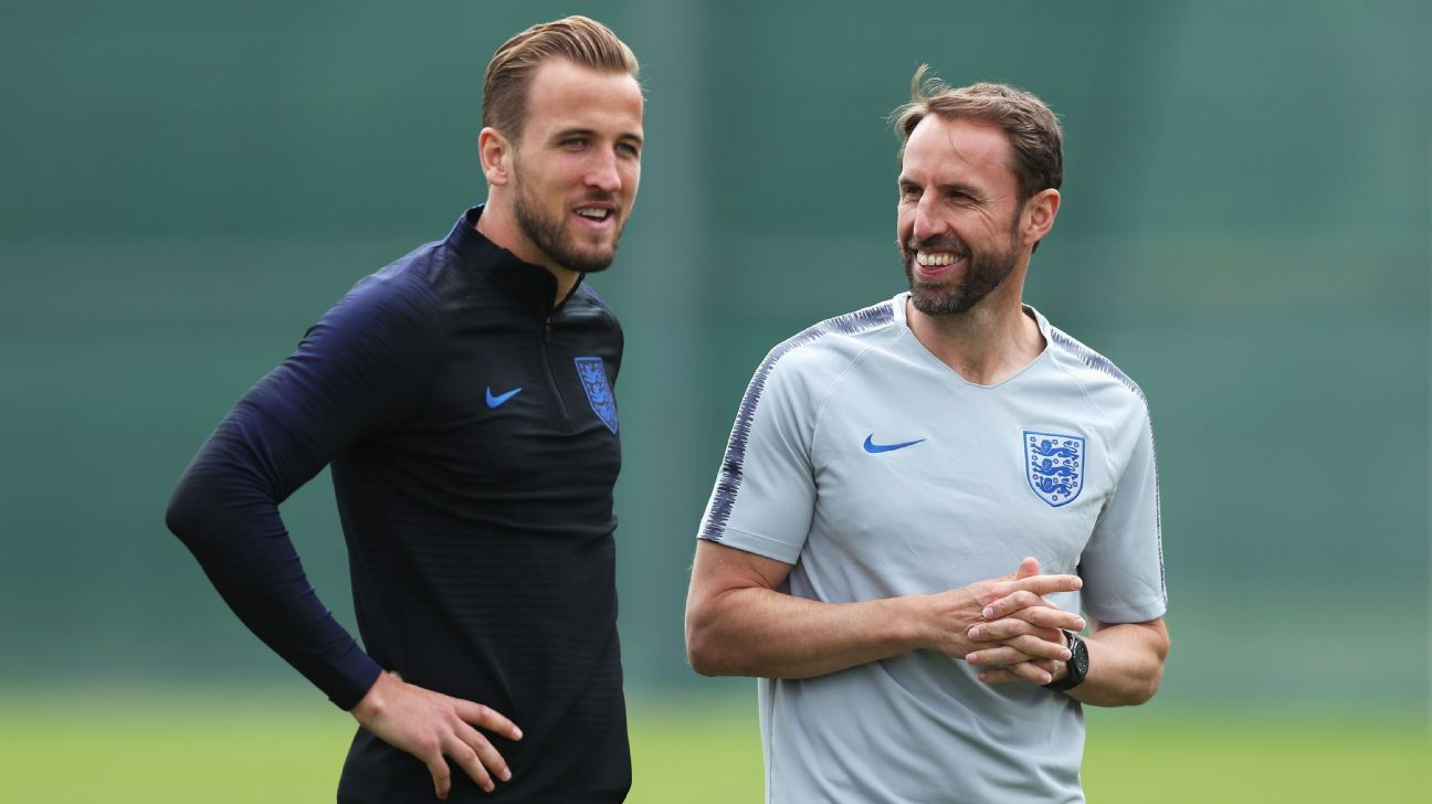 England forward Harry Kane, left, and manager Gareth Southgate