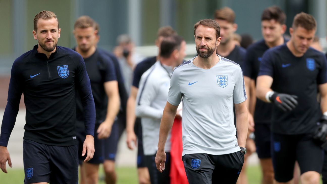 England manager Gareth Southgate, right, leads players out to training in St. Petersburg.