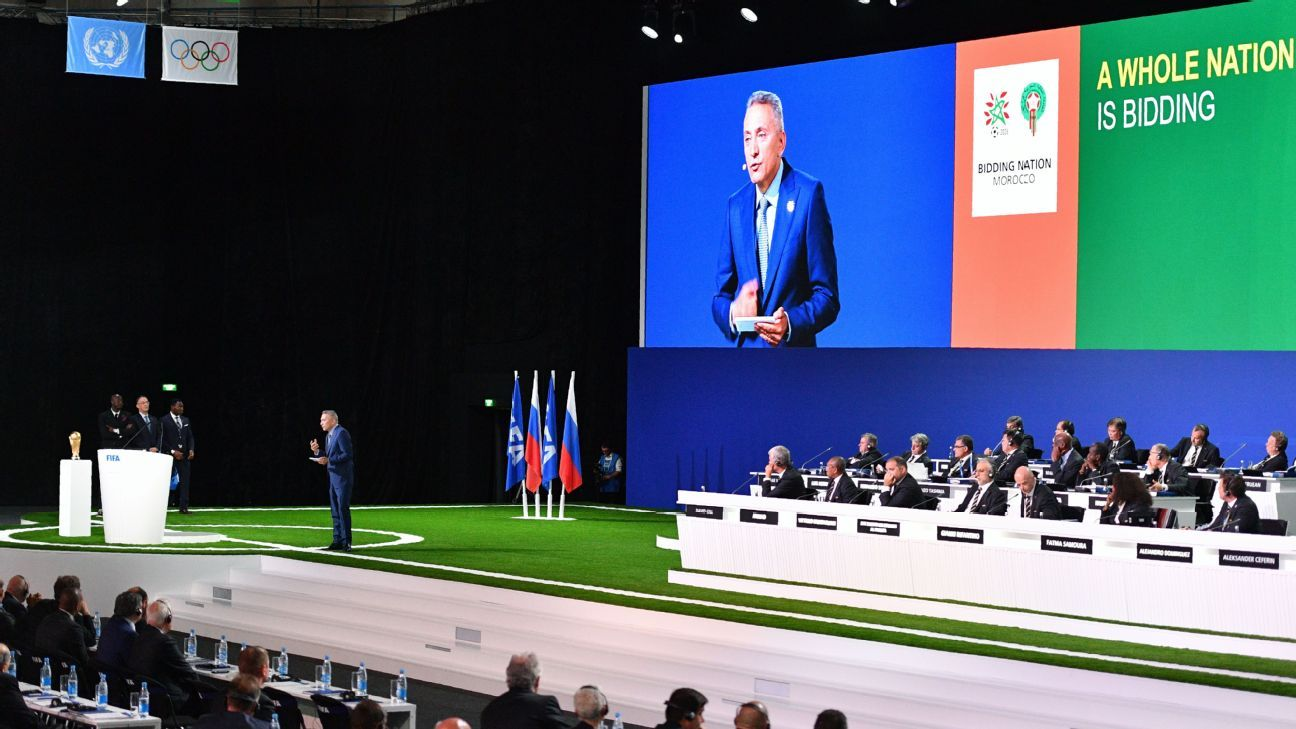 Moulay Hafid Elalamy, chairman of the Moroccan Committee bidding for the 2026 World Cup, presents the bid during the 68th FIFA Congress at the Expocentre in Moscow.