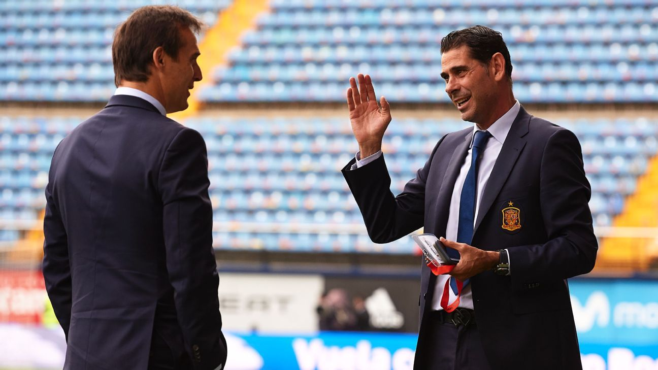 Fernando Hierro has taken over from Julen Lopetegui as Spain coach.