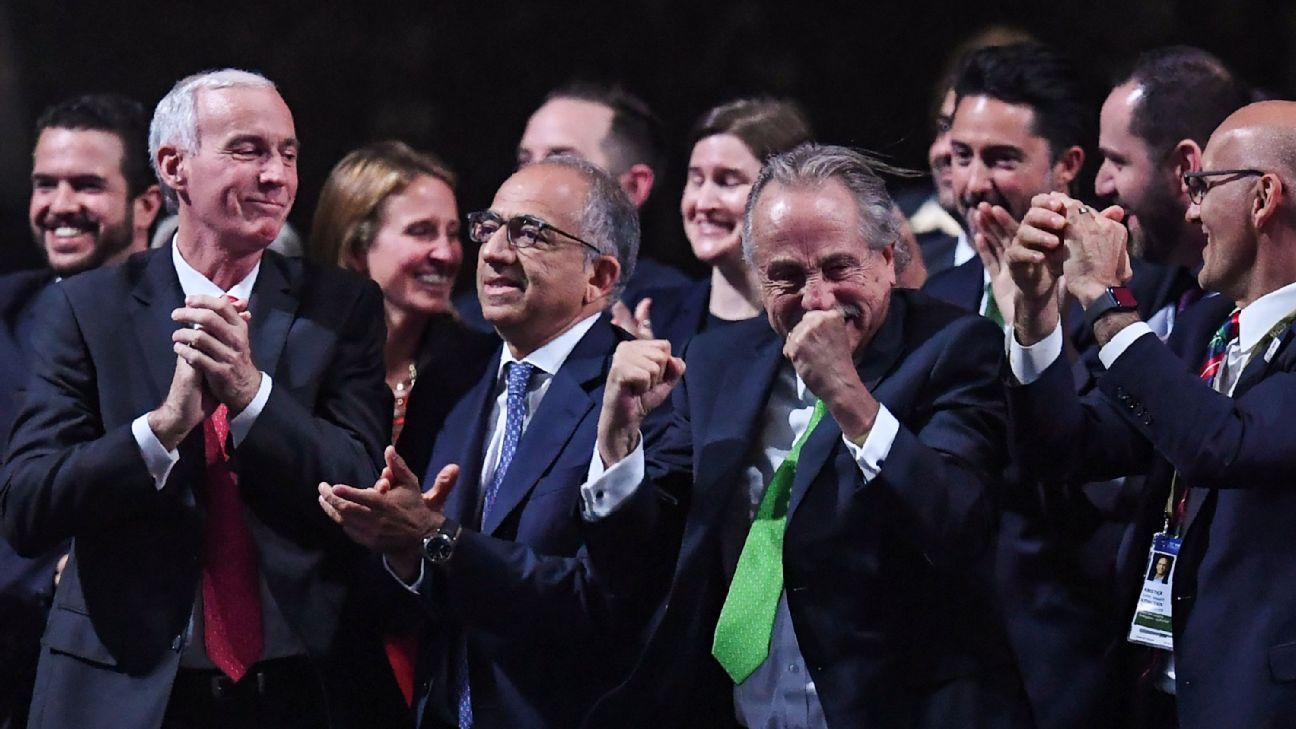 The United Bid of Canada, Mexico and the U.S. celebrate the 2026 World Cup announcement.