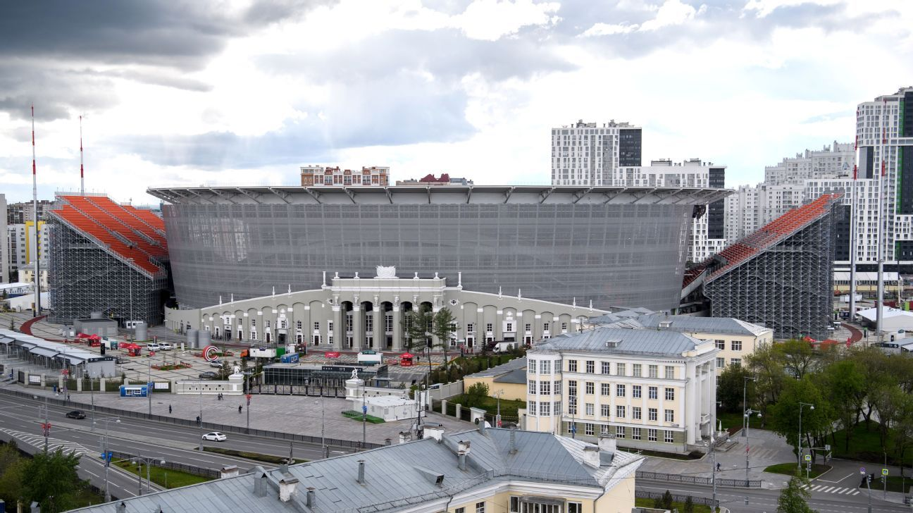 The temporary north and south stands at the Ekaterinburg Arena jut out of the rest of the structure, almost like wings; the extra seats will bring the stadium's capacity to World Cup standards.