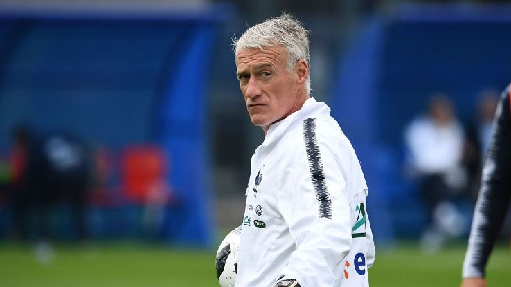 Dider Deschamps looks on during France's training session ahead of the World Cup.