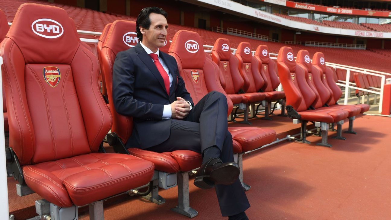 Arsenal manager Unai Emery takes his place in the Emirates dugout for the first time after being appointed.