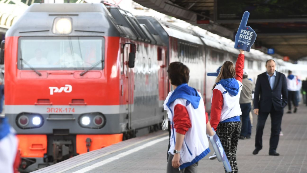 A train carrying football fans arrives at Leningradsky Railway Station in Moscow ahead of the 2018 World Cup.