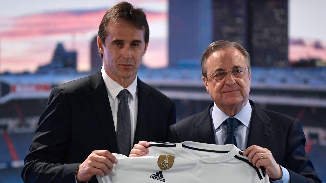 Julen Lopetegui was introduced by Madrid's Florentino Perez.