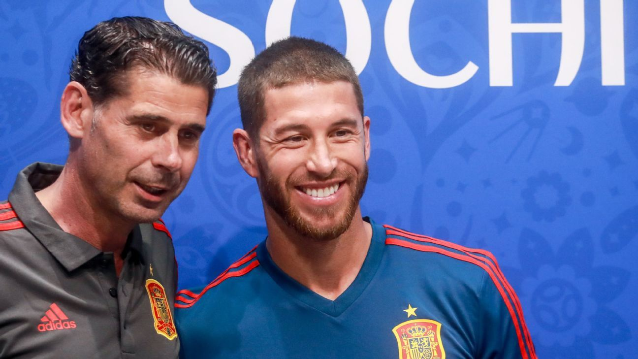 Sergio Ramos smiles alongside Spain manager Fernando Hierro.