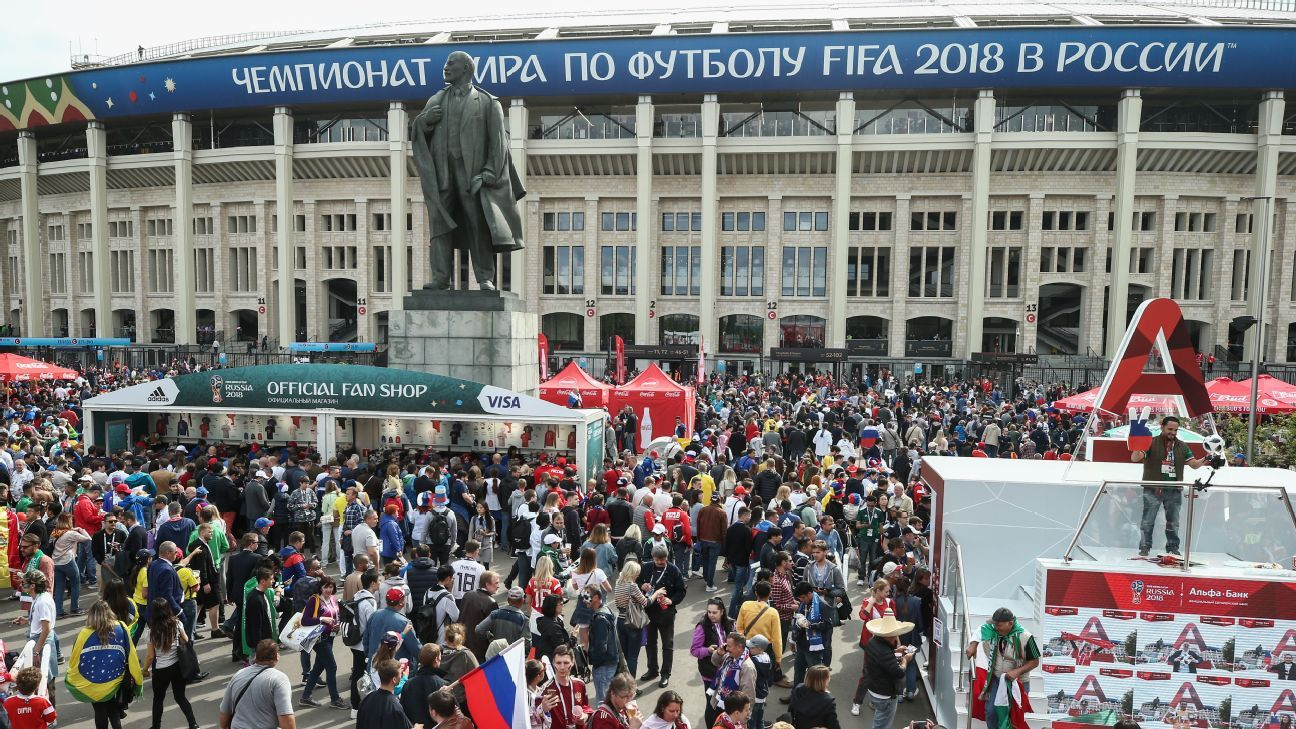 Fans gather outside Luzhniki Stadium in Moscow ahead of the World Cup opener.
