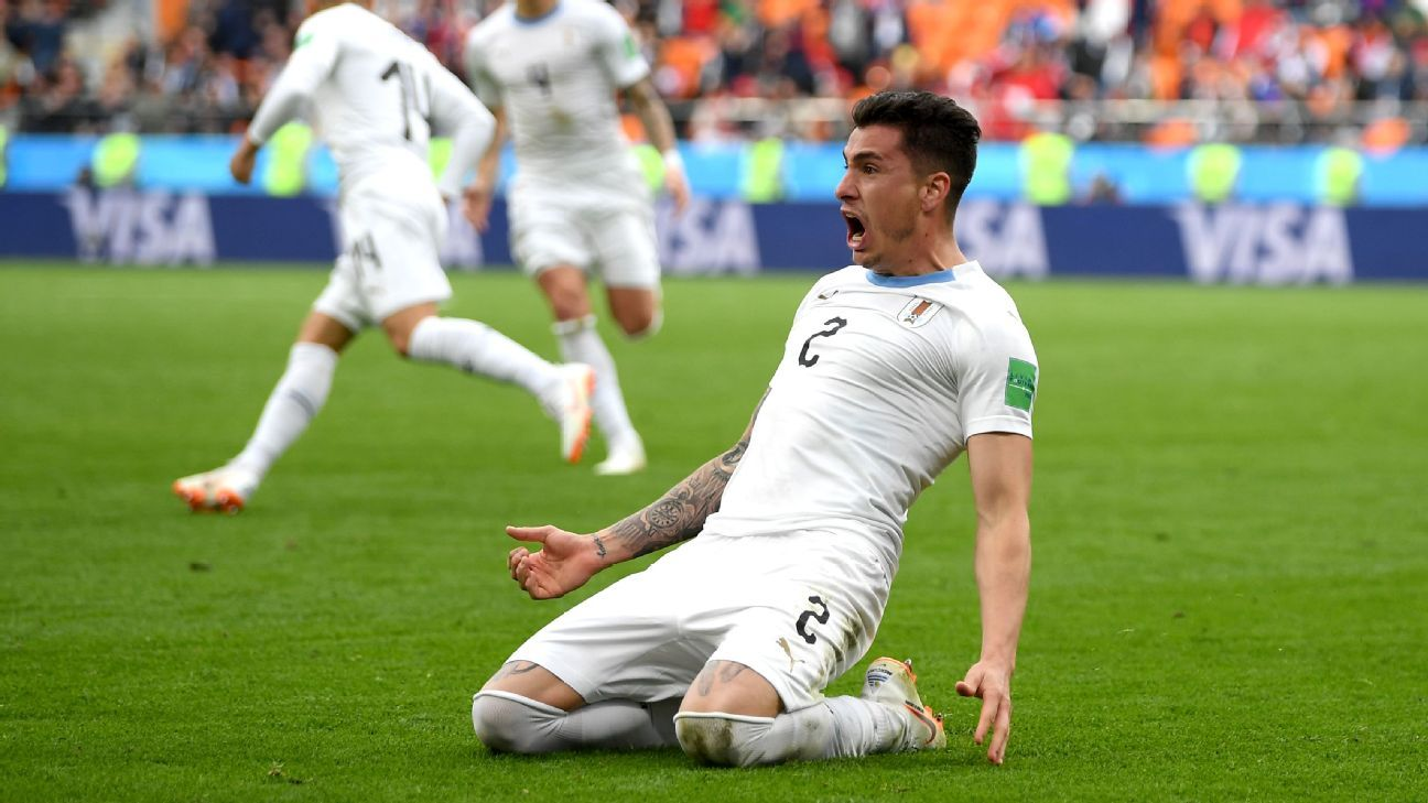 Jose Maria Gimenez celebrates scoring Uruguay's winner in the World Cup group-stage match vs. Egypt.