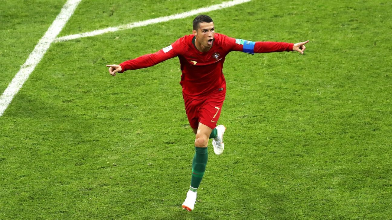 SOCHI, RUSSIA - JUNE 15:  Cristiano Ronaldo of Portugal celebrates after scoring his team's second goal during the 2018 FIFA World Cup Russia group B match between Portugal and Spain at Fisht Stadium on June 15, 2018 in Sochi, Russia.