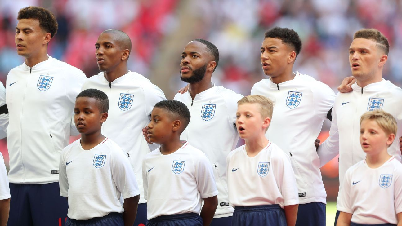 England players stand ahead of a friendly against Nigeria.